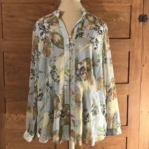 COLDWATER CREEK slightly sheer blouse XL 16 floral